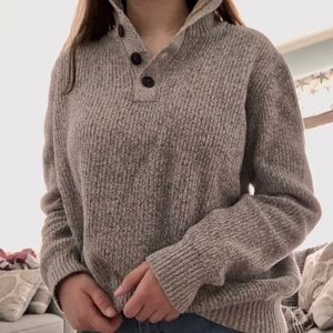 Gray sweater with button collar detail